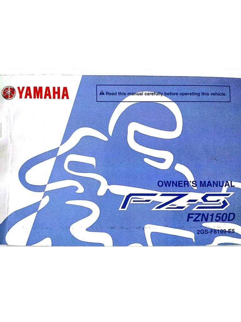 yamaha fz s 2 0 fzn150d manual rh scribd com Yamaha Owner's Manual Yamaha Electronics Manuals