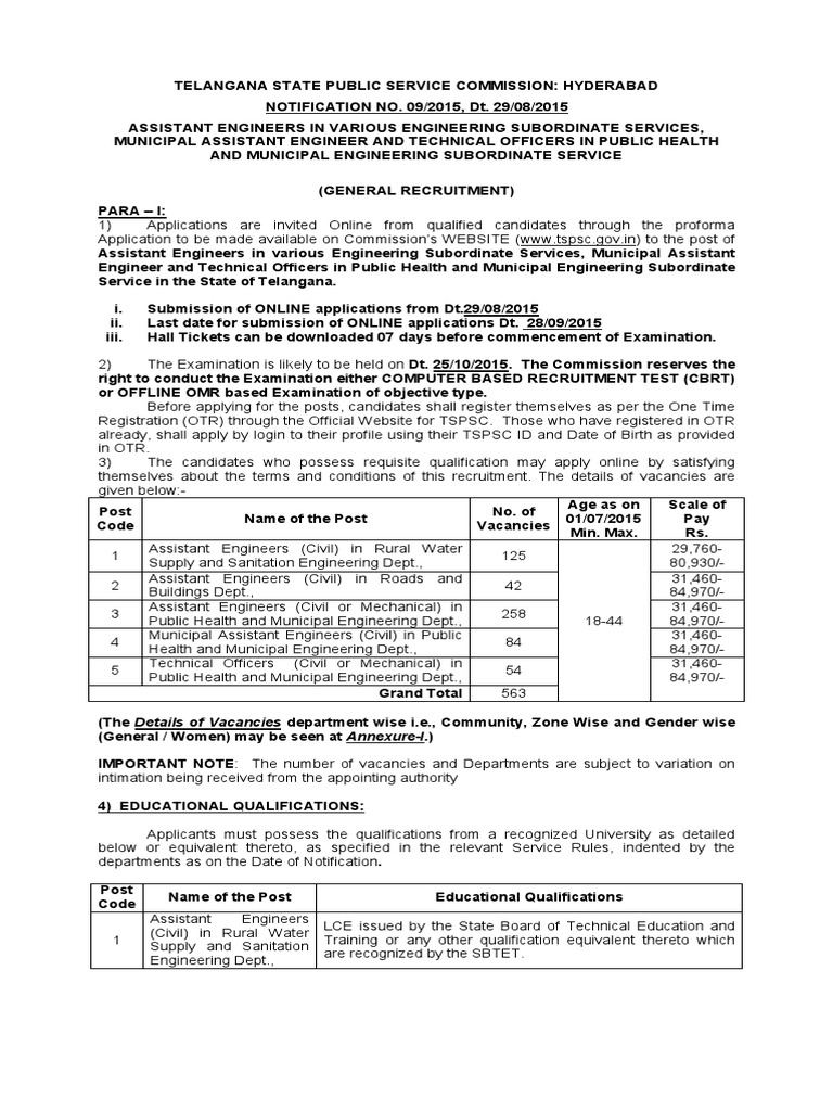 09/2015 assistant engineers in various engineering subordinate services hall ticket
