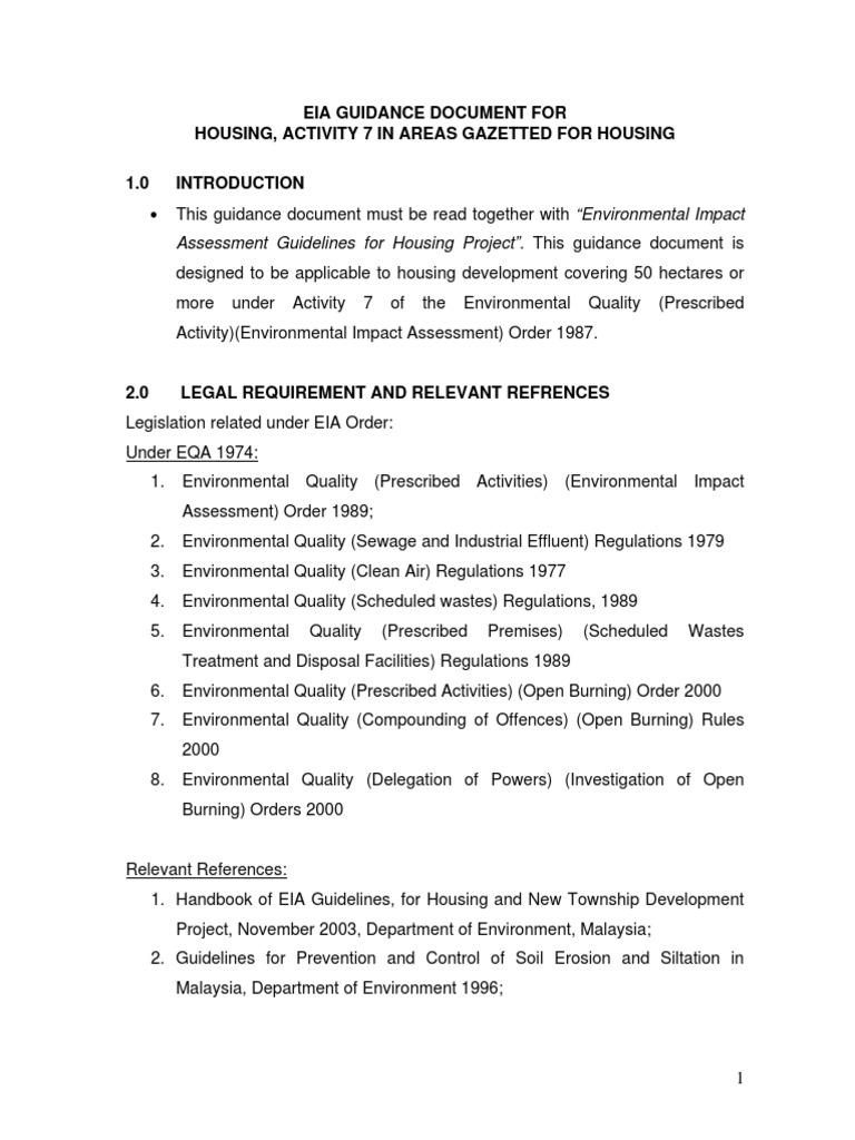 Eia Guidance For Housing Development Environmental Impact Assessment Air Pollution