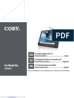 Coby Portable Digital LCD TV Model No. TFTV791 Owners manual