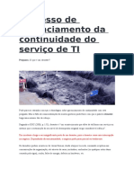 Processo de Gerenciamento Da Continuidade Do Serviço de TI