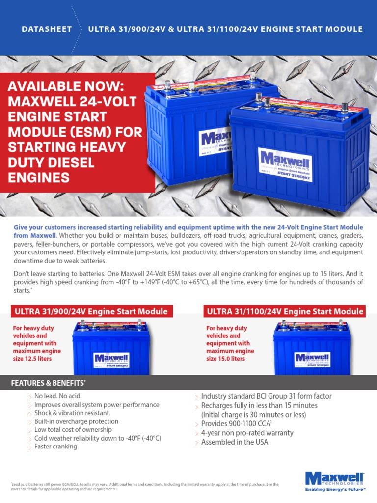 24 VOLT CAPACITOR FOR STARTING ESM_24V_DS_3000915_EN_2 | Battery