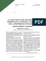 Influencia de los grupos de interes en lapolitica criminal sobre proteccion de derechos de autor