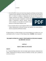 Reglamento Interno de La Unidad y Depto de Recursos Humanos MINSAL Con Sus Reformas AE 634