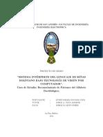 SISTEMA INTERPRETE DEL LENGUAJE DE SEÑAS BOLIVIANO BAJO TECNOLOGIA DE VISION POR COMPUTADOR