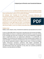 traduccion español Hobbes (Austin, y Tomás de Aquino) para el Derecho como Comando del Soberano