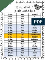 2016 Q3 Specials Schedule