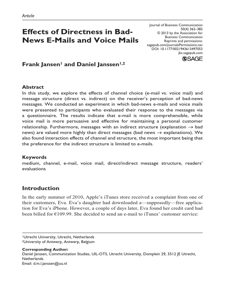 Effects Of Directness Of Bad News Voicemail Email
