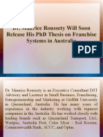 Dr. Maurice Roussety Will Soon Release His PhD Thesis on Franchise Systems in Australia