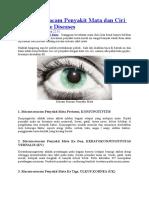 8 Macam Macam Penyakit Mata Dan Ciri Cirinya