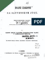 Pisani Zakoni Na Slovenskom Jugu - Valtazar Bogišić