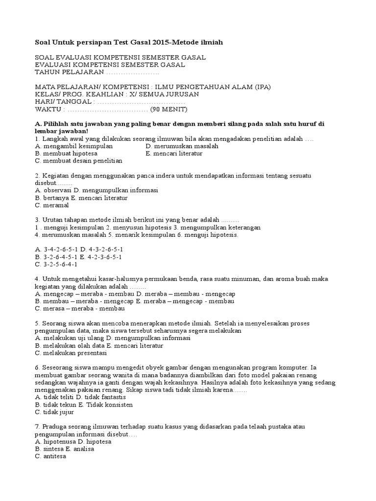 Soal Uts Metode Ilmiah Kelas X