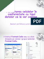 Formatarea Celulelor in Conformitate Cu Tipul Datelor Ce
