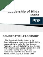 Leadership of Hilda Taaba