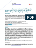 Study and Characterization of Soft Magnetic Properties of Fe73.5Cu1Nb3Si13.5B9 Magnetic Ribbon Prepared by Rapid Quenching Method