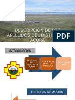 Descripcion de Los Apellidos Del Distrito de Acora