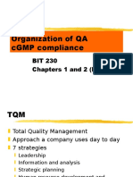 Organization of QA -GMP Compliance