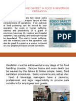 Sanitation and Safety in Food & Beverage Operation