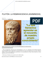 Platón_ La Reminiscencia (Anámnesis) _ Sophiaveda