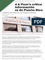 1-4-2016 Standard & Poor's Critica Falta de Información Financiera de Puerto Rico