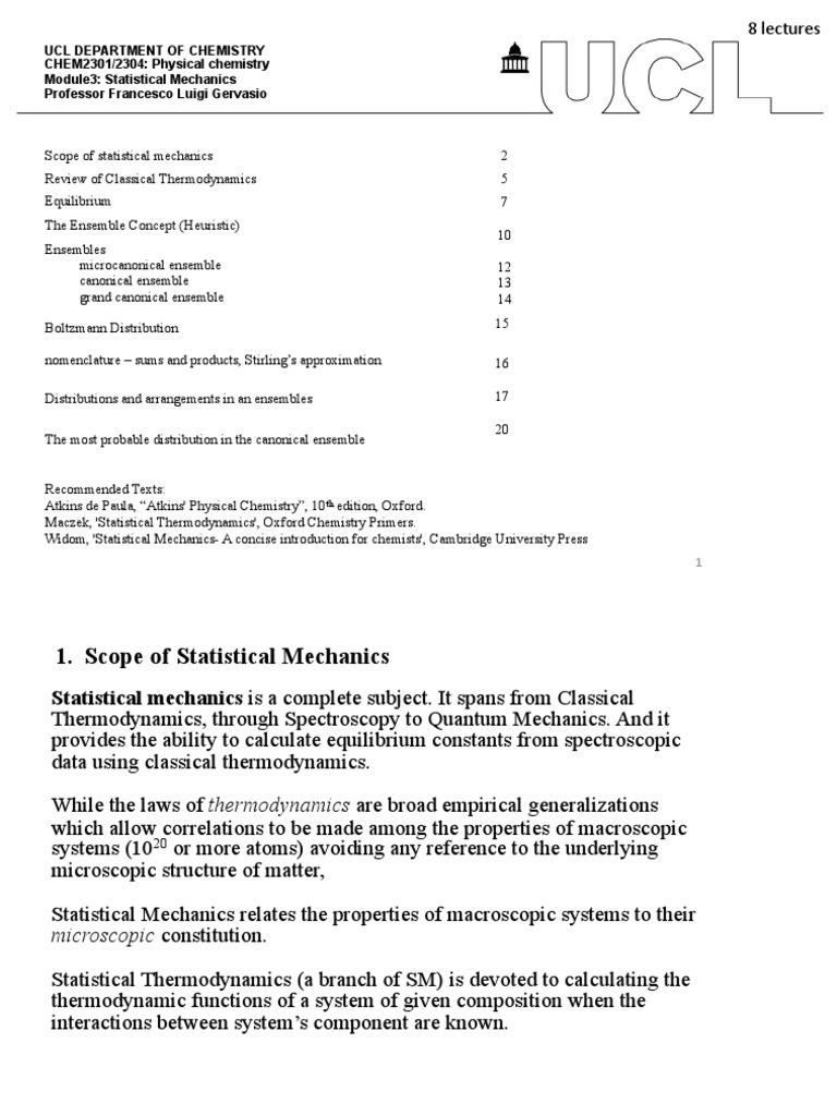 Statistical Lecture1 2 | Statistical Mechanics | Entropy