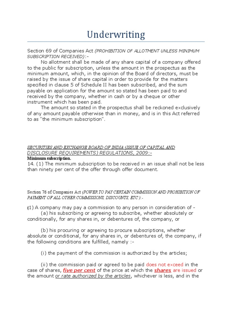 Underwriting Underwriting Prospectus Finance