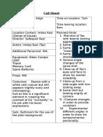 poster call sheet