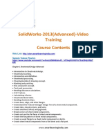 SolidWorks 2013(Advanced) Course Contents