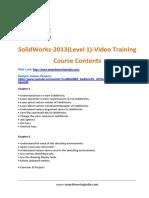 SolidWorks 2013(Level 1) Course Contents