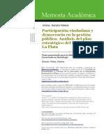 Ursino (2007) Participación Ciudadana y Democracia en La Gestion Publica. Análisis Del Plan Estrategico de La Plata
