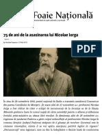 75 de Ani de La Asasinarea Lui Nicolae Iorga - Foaie Națională