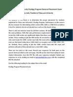 Prodigy Program General Exam
