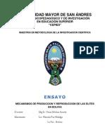 PRODUCCION Y REPRODUCCION DE LAS ELITES EN BOLIVIA