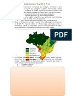 Avaliação Mensal de Geografia Do 4º Ano - AGOSTO