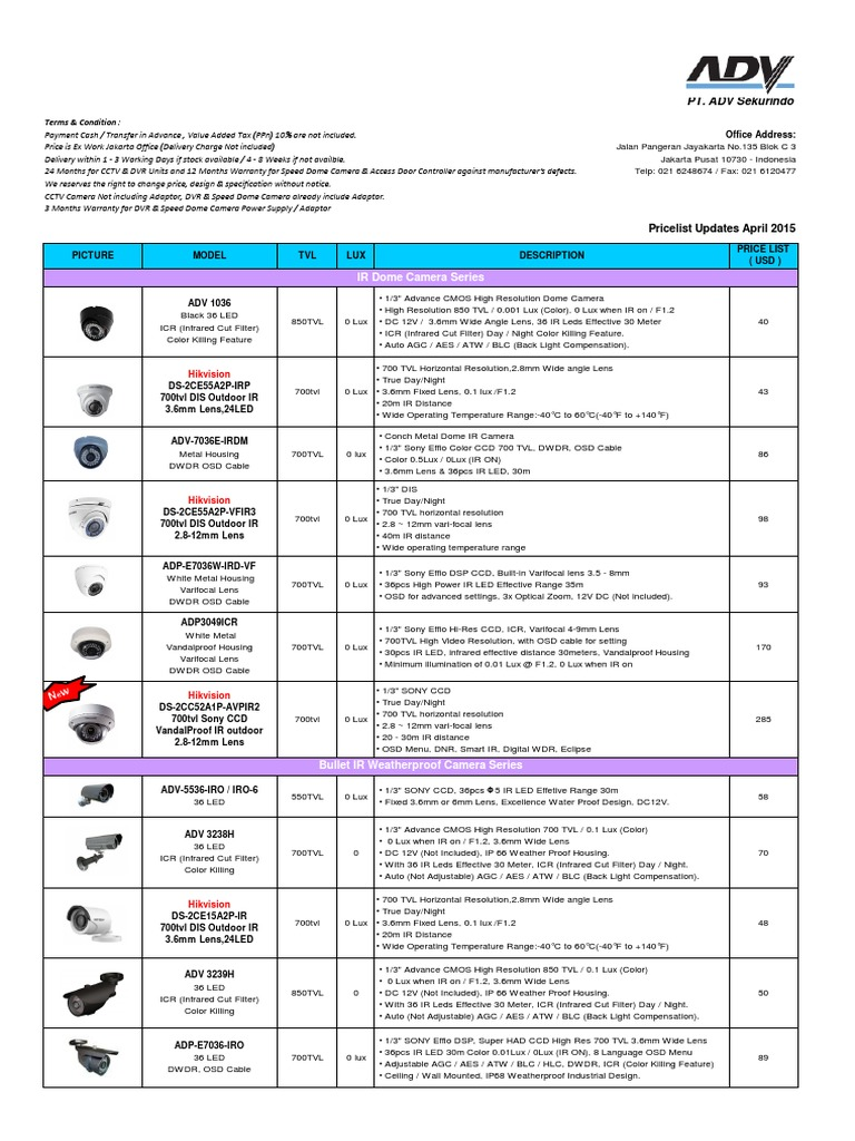 End User-ADV April 2015 Price List USD | Access Control
