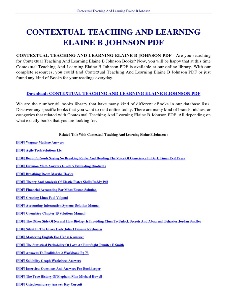 ... Array - contextual teaching and learning elaine b johnson rh es scribd  com