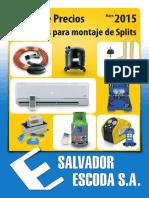 Accesorios Splits Tarifa PVP SalvadorEscoda.2015