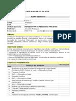 AULA 1 PLANO DE ENSINO METODOLOGIA PEDAGOGIA 2013 1.doc