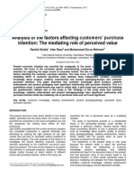 Research Paper 5 Analysis of the Factors Affecting Customers' Purchase Intention the Mediating Role of Perceived Value