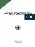 CONVENCION de LAS NACIONES UNIDAS Sobre Letra Cambio y Pagare Internacionales