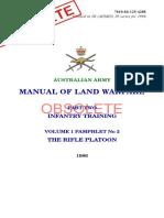 Australian Army Manual Land Warfare Rifle Platoon 1986 Full Obsolete