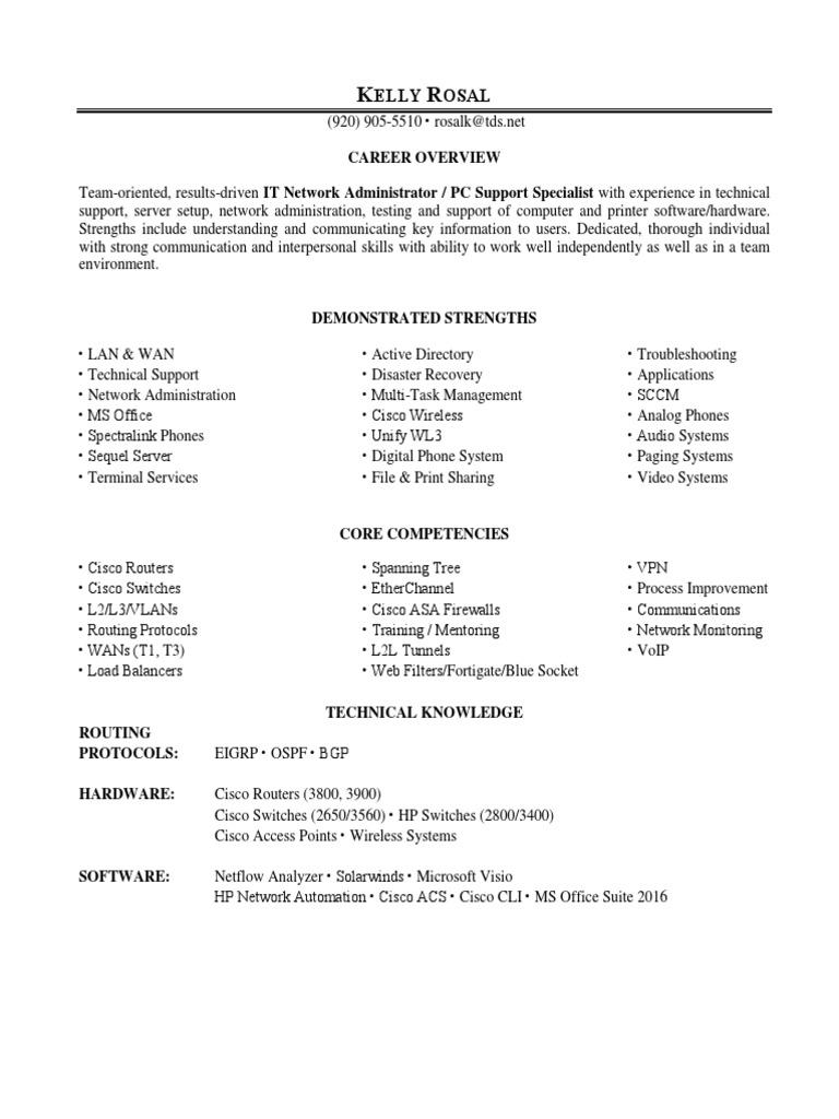 it network server administrator in sheboygan wi resume