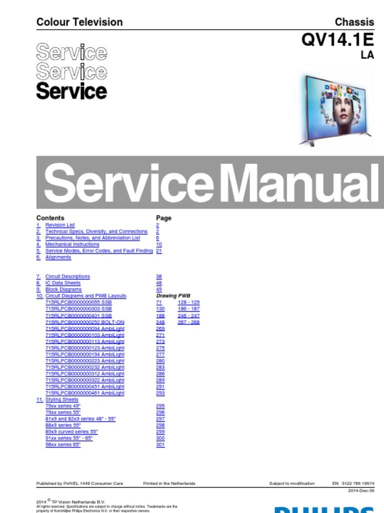 philips chassis qv14 1e la pdf hdmi television rh scribd com