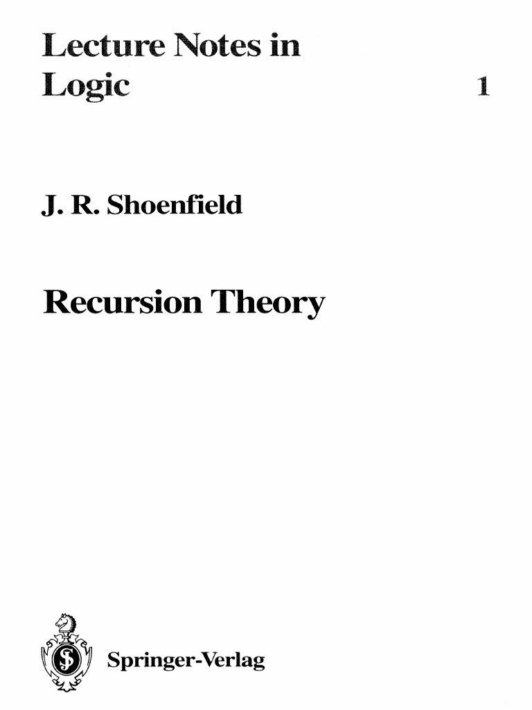 Shoenfield - Recursion Theory | Computability Theory