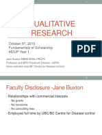 Introduction to Research -Qualitative - Jane Buxton, October 5, 2015 ( for Students)Introduction to Research -Qualitative - Jane Buxton, October 5, 2015 ( for Students)