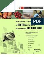 Verificación de Metas de los Proyectos y Actividades del PIR DAIS Año 2013
