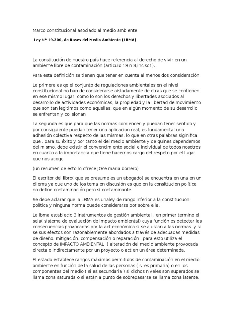 Marco Constitucional Asociado Al Medio Ambiente