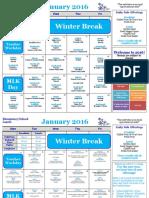 January Elementary School Calendar