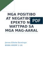 Mga Positibo at Negatibong Epekto Ng Wattpad