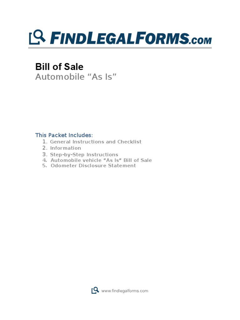 as is bill of sale for auto